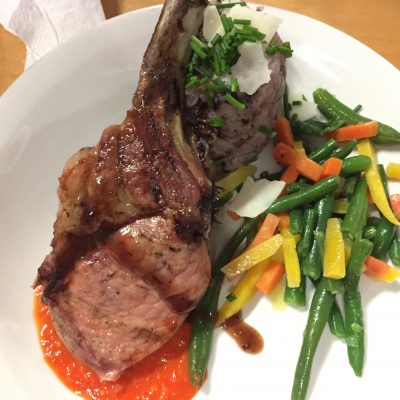 Grilled Pork Chop with Pepper Sauce with Parmesan Risotto and Julienne Carrots